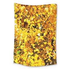 Birch Tree Yellow Leaves Large Tapestry by FunnyCow