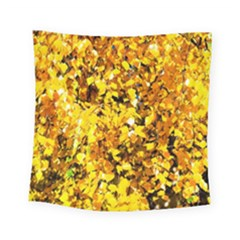 Birch Tree Yellow Leaves Square Tapestry (small) by FunnyCow