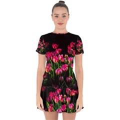 Pink Tulips Dark Background Drop Hem Mini Chiffon Dress by FunnyCow