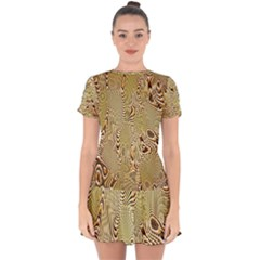 Pattern Abstract Art Drop Hem Mini Chiffon Dress