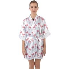 Pink Flamingo Pattern  Quarter Sleeve Kimono Robe by CrypticFragmentsColors