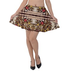 Roses Floral Wallpaper Flower Velvet Skater Skirt