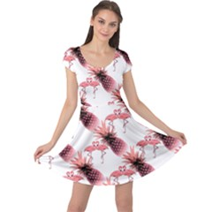 Flamingo Pineapple Tropical Pink Pattern Cap Sleeve Dress