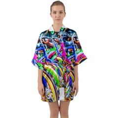 Colorful Bicycles In A Row Quarter Sleeve Kimono Robe by FunnyCow