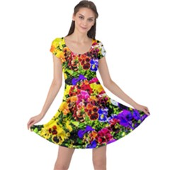 Viola Tricolor Flowers Cap Sleeve Dress by FunnyCow