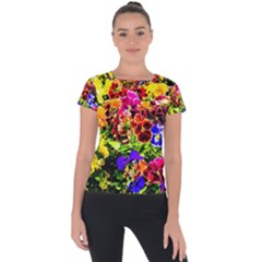 Viola Tricolor Flowers Short Sleeve Sports Top