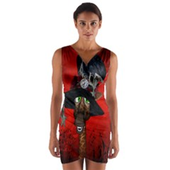 Funny, Cute Giraffe With Cool Hat Wrap Front Bodycon Dress by FantasyWorld7