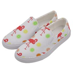Flamingo Tropical Fruit Pattern Men s Canvas Slip Ons by CrypticFragmentsColors