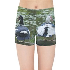 Muscovy Ducks At The Pond Kids Sports Shorts by IIPhotographyAndDesigns
