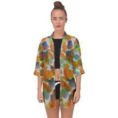Colorful Paint Brushes On A White Background                                       Open Front Chiffon Kimono by LalyLauraFLM