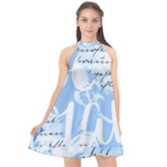 Love Script Blue Halter Neckline Chiffon Dress  by illuminaryartworks