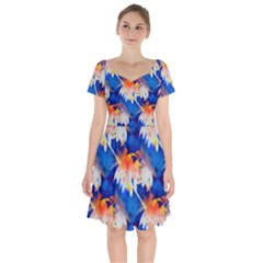 Palm Trees Tropical Beach Sunset Short Sleeve Bardot Dress by CrypticFragmentsColors