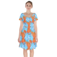 Coconut Palm Trees Tropical Dawn Short Sleeve Bardot Dress by CrypticFragmentsColors