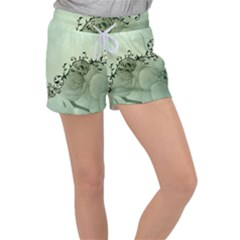 Elegant, Decorative Floral Design In Soft Green Colors Women s Velour Lounge Shorts by FantasyWorld7