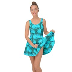 Coconut Palm Trees Blue Green Sea Small Print Inside Out Casual Dress by CrypticFragmentsColors
