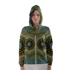 Modern Fantasy Rococo Flower And Lilies Hooded Windbreaker (women) by pepitasart