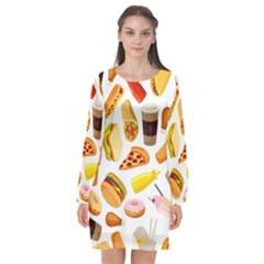 53356631 L Long Sleeve Chiffon Shift Dress  by caloriefreedresses