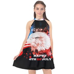 Independence Day, Eagle With Usa Flag Halter Neckline Chiffon Dress  by FantasyWorld7