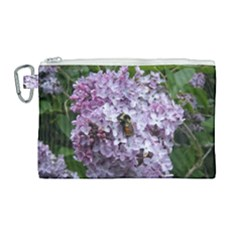 Lilac Bumble Bee Canvas Cosmetic Bag (large) by IIPhotographyAndDesigns
