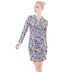 Funny Cute Colorful Cats Pattern Button Long Sleeve Dress by EDDArt