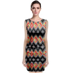 Red And Black Zig Zags  Classic Sleeveless Midi Dress by flipstylezdes