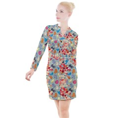 Hipster Triangles And Funny Cats Cut Pattern Button Long Sleeve Dress by EDDArt