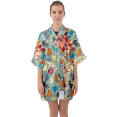 Hipster Triangles And Funny Cats Cut Pattern Quarter Sleeve Kimono Robe by EDDArt