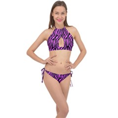 Zebra Stripes Pattern Trend Colors Black Pink Cross Front Halter Bikini Set by EDDArt