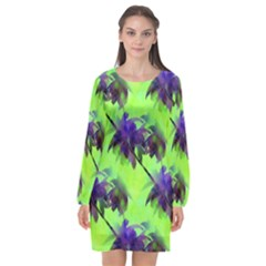 Palm Trees Lime In The Coconut Long Sleeve Chiffon Shift Dress  by CrypticFragmentsColors