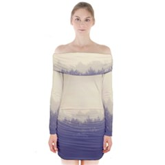 Cloudy Foggy Forest With Pine Trees Long Sleeve Off Shoulder Dress by genx