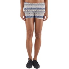 Native American Ornaments Watercolor Pattern Blue Yoga Shorts by EDDArt