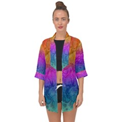 Fractal Batik Art Hippie Rainboe Colors 1 Open Front Chiffon Kimono by EDDArt