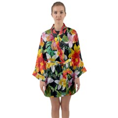 Tropical Flowers Butterflies 1 Long Sleeve Kimono Robe by EDDArt
