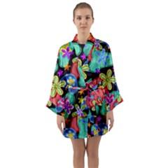 Colorful Retro Flowers Fractalius Pattern 1 Long Sleeve Kimono Robe