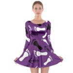 PURPLE Long Sleeve Skater Dress