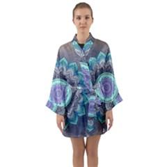 Folk Art Lotus Mandala Blue Turquoise Long Sleeve Kimono Robe by EDDArt