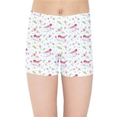 Watercolor Birds Magnolia Spring Pattern Kids Sports Shorts by EDDArt