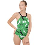 GREEN High Neck One Piece Swimsuit