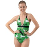GREEN Halter Cut-Out One Piece Swimsuit