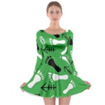 GREEN Long Sleeve Skater Dress
