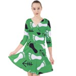 GREEN Quarter Sleeve Front Wrap Dress
