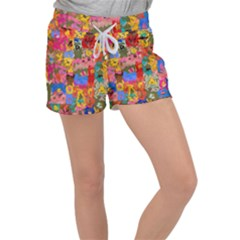 Coloful Strokes Canvas                            Women s Velour Lounge Shorts by LalyLauraFLM
