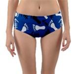 BLUE #2 Reversible Mid-Waist Bikini Bottoms