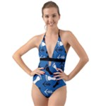 BLUE #2 Halter Cut-Out One Piece Swimsuit