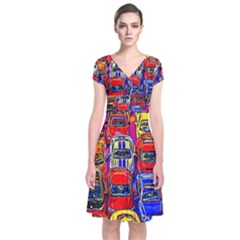 Colorful Toy Racing Cars Short Sleeve Front Wrap Dress
