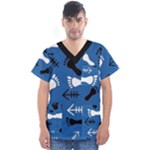 BLUE #2 Men s V-Neck Scrub Top