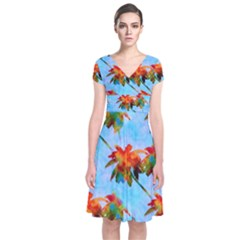 Palm Trees Sunset Glow Short Sleeve Front Wrap Dress by CrypticFragmentsColors