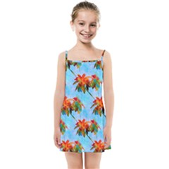 Palm Trees Sunset Glow Kids Summer Sun Dress by CrypticFragmentsColors
