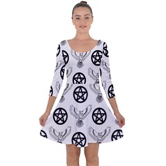 Owls And Pentacles Quarter Sleeve Skater Dress by IIPhotographyAndDesigns