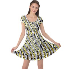Bright Gold Black And White Waves Created By Flipstylez Designs Cap Sleeve Dress by flipstylezdes